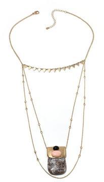 Danielle Nicole Sunrise Geometric Stone Triple-Layer 18 Necklace