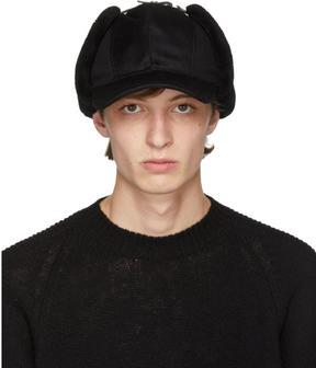 Prada Black Fur Flap Cap