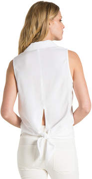 Bella Dahl Button Down Tie Back Shirt-White-XS