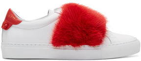 Givenchy White and Red Fur Urban Knots Sneakers