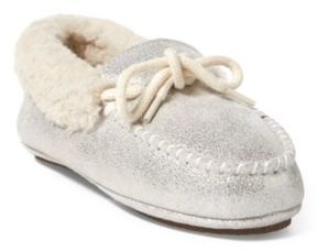 Ralph Lauren Allister Metallic Slipper Silver Shimmer 4