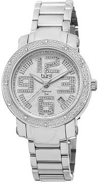 Burgi Silver-tone Dial Diamond Bezel Ladies Watch