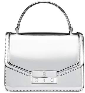 Tory Burch JULIETTE METALLIC MINI TOP-HANDLE SATCHEL - SILVER - STYLE