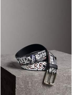 Burberry Doodle Print Leather Belt