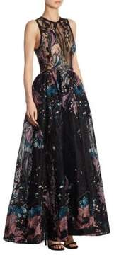 Elie Saab Embroidered Tulle Gown