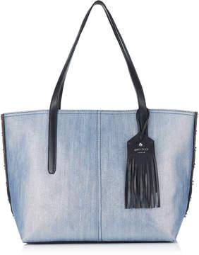 Jimmy Choo TWIST EAST WEST Dusk Blue Metallic Denim and Black Grainy Calf Leather Tote Bag