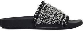 Carvela Kit chain detail woven sliders