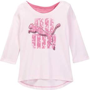 Puma 3/4 Length Sleeve Scoop Back Top (Little Girls)