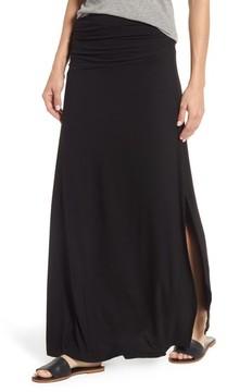 Bobeau Women's Ruched Side Slit Maxi Skirt
