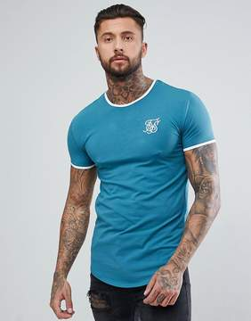SikSilk Muscle Ringer T-Shirt In Teal Blue