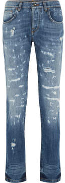 Dolce & Gabbana Distressed Slim Boyfriend Jeans - Mid denim