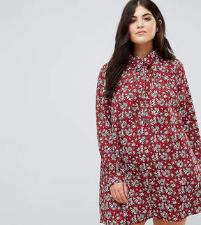 Alice & You Long Sleeve Shirt Dress In Floral