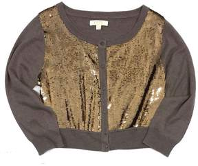 Erin Fetherston Erin Brown & Gold Sequined Crop Cardigan