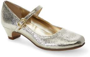 Nina Kids Girls) Gold Crackled Low-Heel Mary Jane Shoes