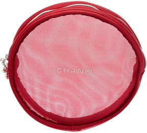 Chanel Red Round Cosmetic Bag, Never Carried
