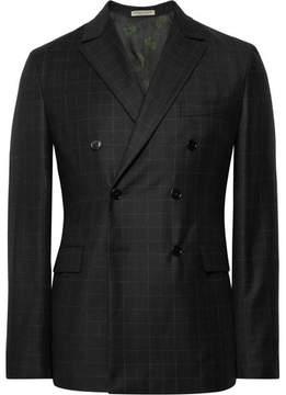 Bottega Veneta Charcoal Double-Breasted Windowpane-Checked Wool Suit Jacket