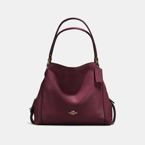 COACH EDIE SHOULDER BAG 31 IN POLISHED PEBBLE LEATHER - f57125 - LIGHT GOLD/OXBLOOD