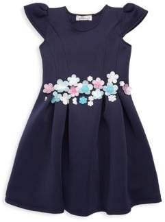 Halabaloo Little Girl's & Girl's Glittered Floral Detail A-line Dress