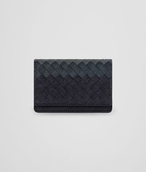 Bottega Veneta Sapphire Blue Intrecciato Lamb Club Leather Card Case