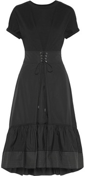 3.1 Phillip Lim Lace-up Cotton-jersey And Shell Midi Dress - Black