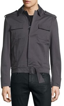 CNC Costume National Long-Sleeve Woven Sports Jacket, Smoke Gray