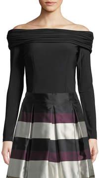 Eliza J Off-The-Shoulder Long-Sleeve Crop Top