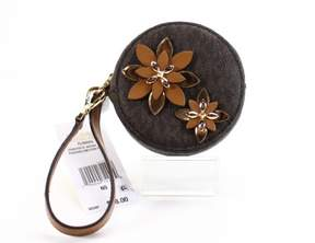 Michael Kors Brown Gold Leather Flower Zip Around Coin Pouch Wallet - BROWNS - STYLE