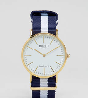 Reclaimed Vintage Inspired Navy Stripe Canvas Watch With White Dial Exclusive to ASOS