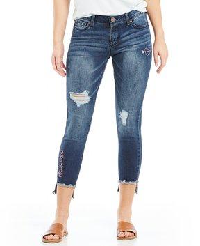 Celebrity Pink Doodle Embroidered Frayed Step Hem Skinny Jeans