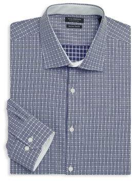 Tailorbyrd Trim-Fit Plaid Cotton Dress Shirt