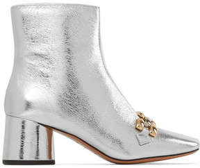 Marc Jacobs Remi Chain-trimmed Metallic Leather Ankle Boots - Silver