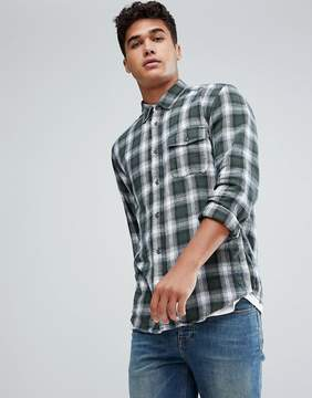 Benetton Flannel Shirt In Green Check