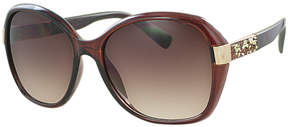 Kay Unger Brown Tamara Oversize Round Sunglasses