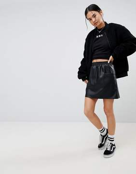 Noisy May Leather Look Skirt