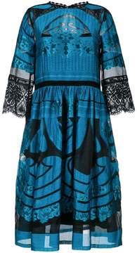 Alberta Ferretti sheer detail flared dress