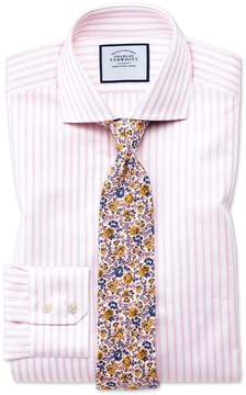 Charles Tyrwhitt Slim Fit Spread Collar Textured Stripe Pink and White Cotton Dress Shirt Single Cuff Size 16.5/36