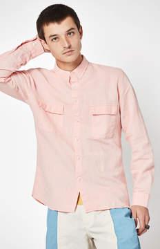 Barney Cools Worker Linen Long Sleeve Button Up Shirt
