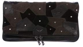 Zadig & Voltaire Suede & Leather Patchwork Clutch