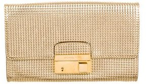 Michael Kors Embossed Metallic Leather Clutch - GOLD - STYLE