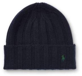 Ralph Lauren Wide-Rib Cashmere-Wool Cap Hunter Navy One Size