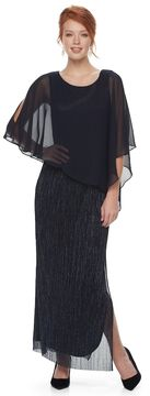 Connected Apparel Women's Metallic Chiffon Popover Evening Gown
