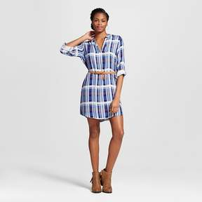 Almost Famous Women's Plaid Belted Popover Shirt Dress Juniors')
