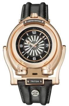 Triton GV2 Gv2 Iprg Case Black Dial With Iprg Indexes Black Leather Strap Gv2 Watch.