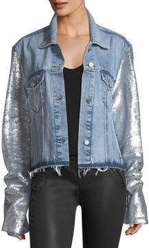 RtA Haylee Button-Front Denim Jacket w/ Sequin Sleeves