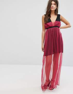 Fashion Union Maxi Dress With Sheer Metallic Spot Mesh Layer