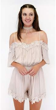 Ark & Co Lousy With Lace Off The Shoulder Romper