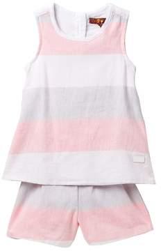 7 For All Mankind Striped Linen Romper (Little Girls)