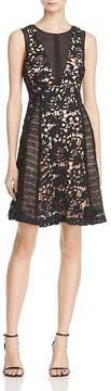Adelyn Rae Loretta Illusion-Inset Lace Dress
