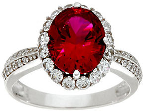 Diamonique As Is Simulated Ruby Ring, Platinum Clad