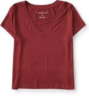 Aeropostale Solid V-Neck Baby Tee